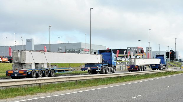 The AWPR beams arrive in Aberdeen