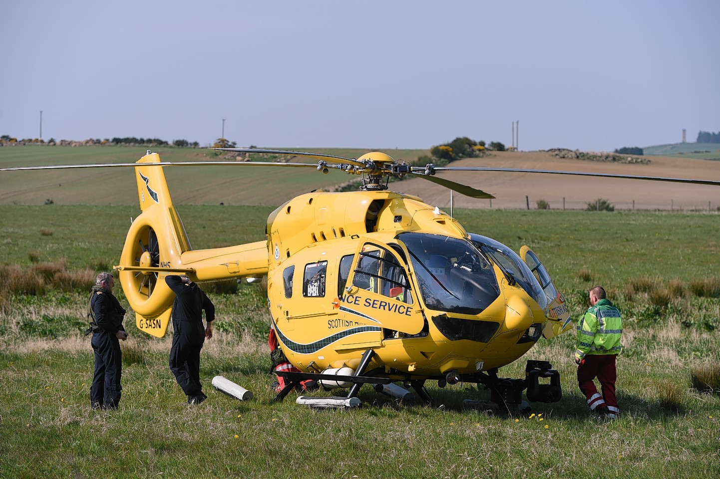 Air ambulance at the scene.  Picture by Kenny Elrick