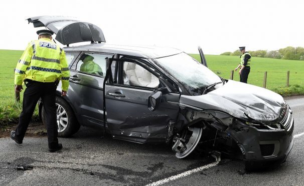 One of the cars involved in the crash on the B9170