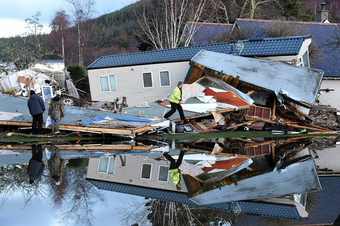 Flood damage at Ballater after the River Dee burst it's banks flooding the town.  Picture by KEVIN EMSLIE