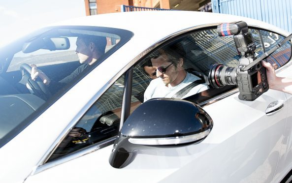 Joey Barton leaves Ibrox with Rangers assistant manager David Weir following contract talks