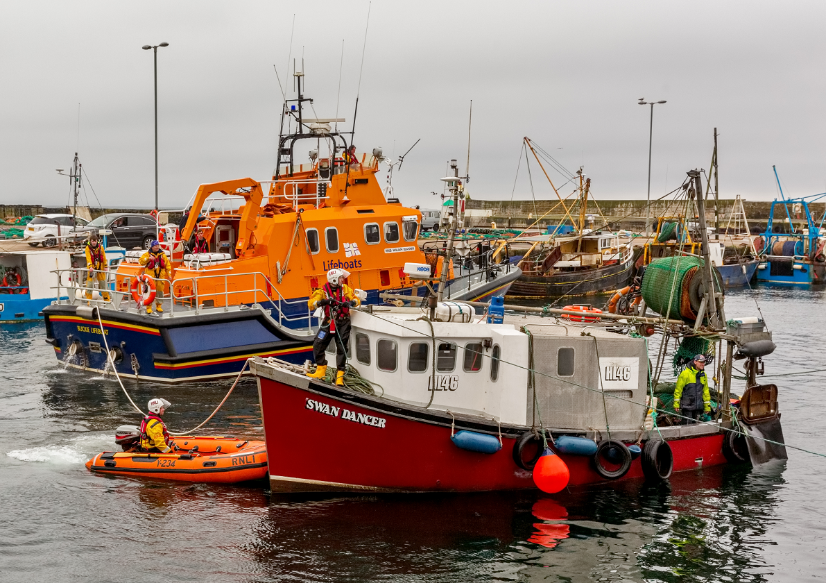 The Swan Dancer was towed to Burghead after losing power off the coast of Lossiemouth.