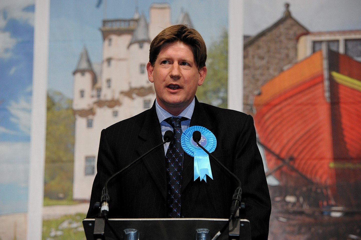 Alexander Burnett gives his victory speech in Aberdeenshire West. Picture by Kenny Elrick