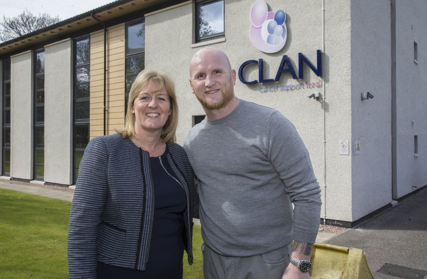 Dr Colette Backwell, chief executive of CLAN Cancer Support with John Hartson