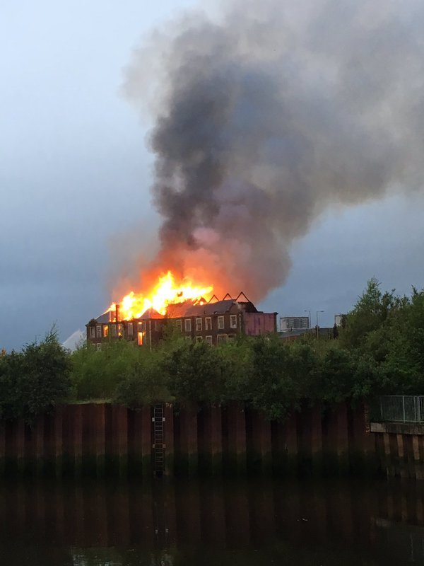 The flames can be seen across Glasgow