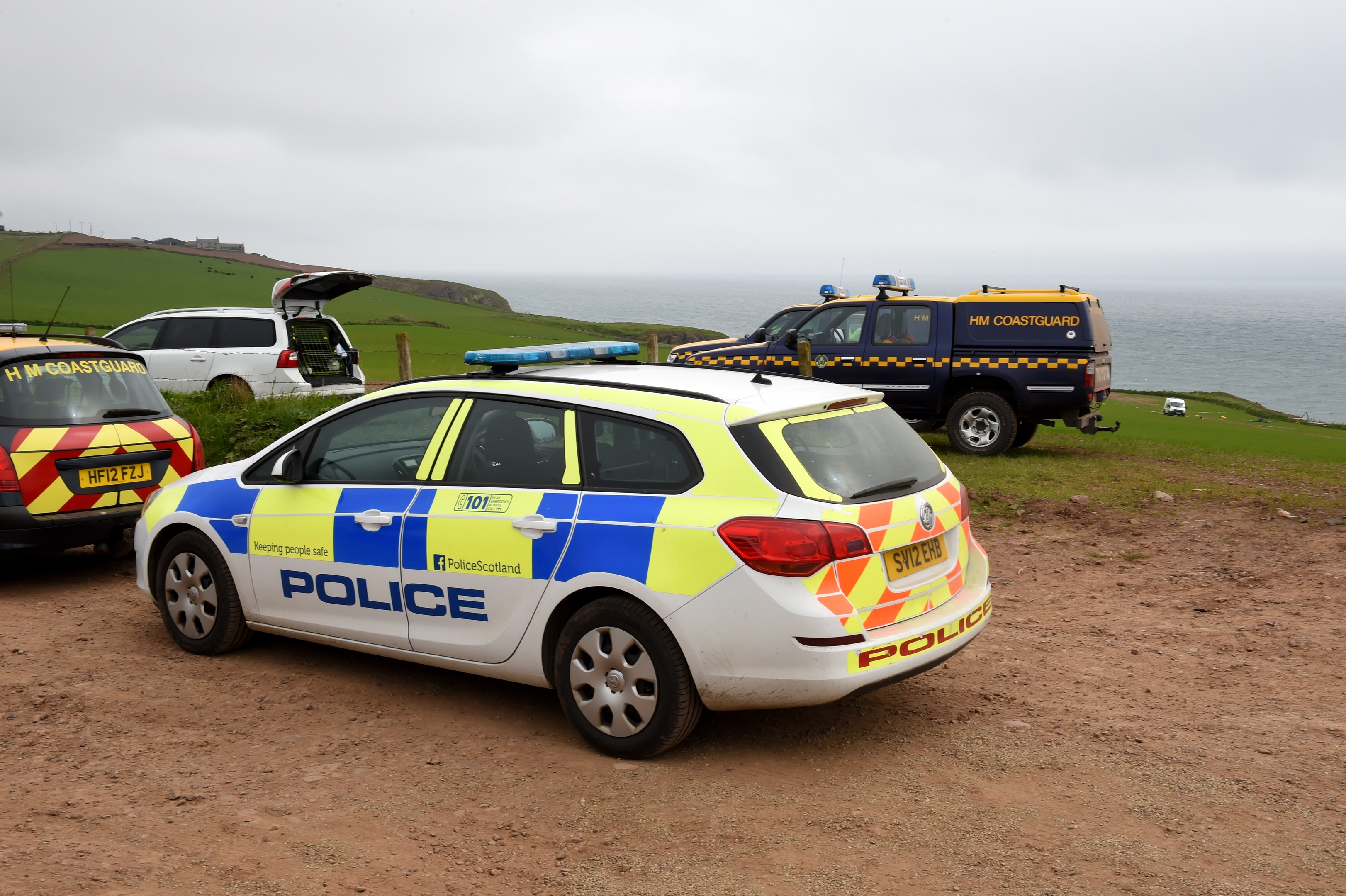 Police Scotland, the Scottish Ambulance Service, Aberdeen Coastguard and Stonehaven RNLI were called to the cliffs at Whistleberry Farm, Kinneff, near Inverbervie. Picture by KENNY ELRICK 27/05/2016