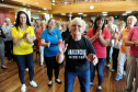 Dot Bremner, centre, who raised £2275, with her dancercise classes, for the Teddy Bear Developmental Playgroup at Buckie, represented by, Angela Hay, left, Deborah Jennings, second left, and Pauline Riddoch, right. Picture by Gordon Lennox 27/05/2016