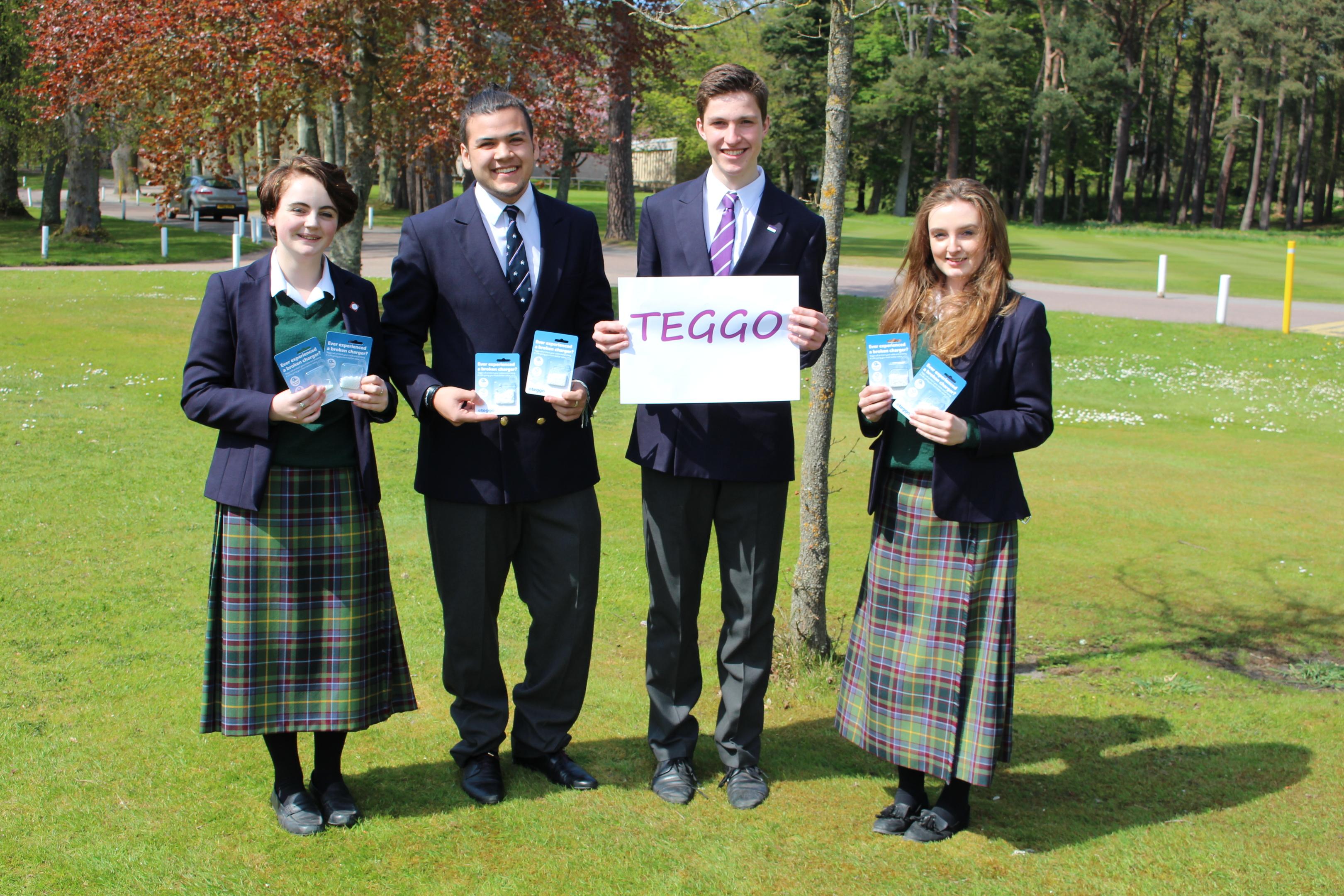 The Gordonstoun team behing Teggo: Imogen Mornement, Kane Edwards, Hugh Cunningham, Grace Pritchard.