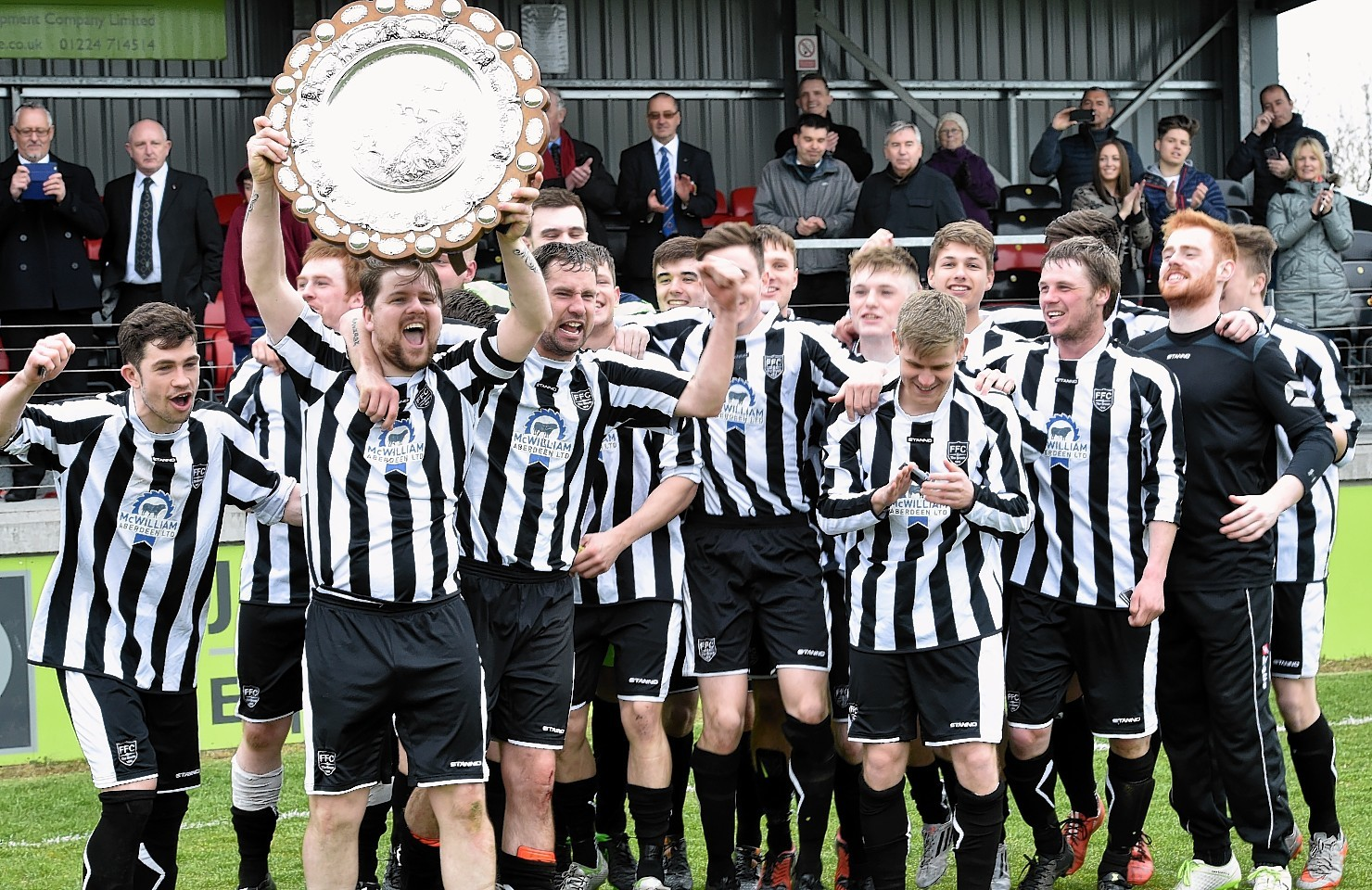 Fraserburgh celebrate claiming the shield. Picture by Colin Rennie.