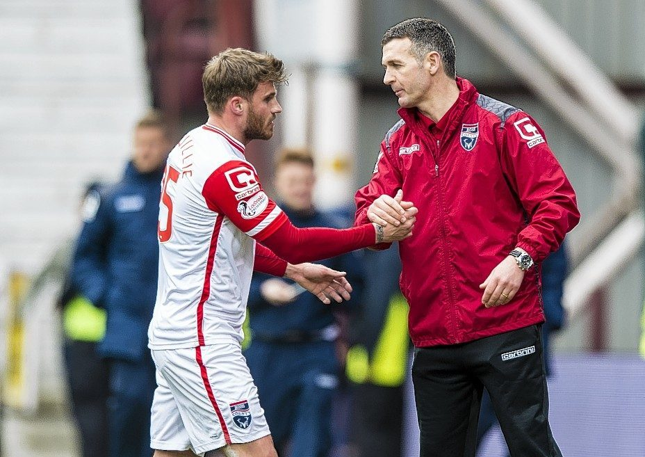 Jim McIntyre congratulates David Goodwillie after his goal
