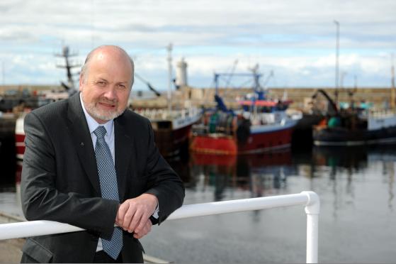 Councillor Gordon McDonald at Buckie harbour.