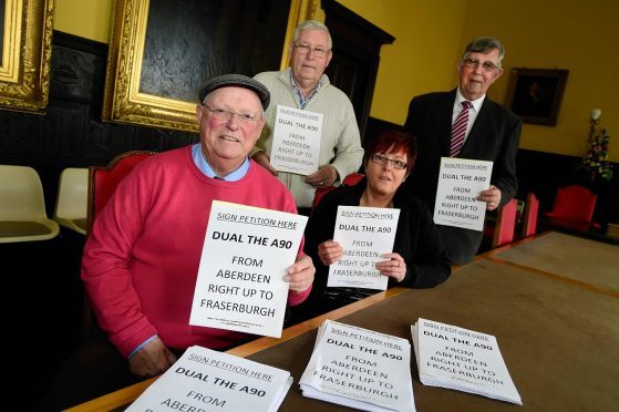 Ian Tait with backers of the petition to dual up to Fraserburgh.