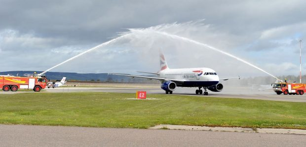 he inaugural British Airways flight to Inverness from Heathrow landed yesterday morning.