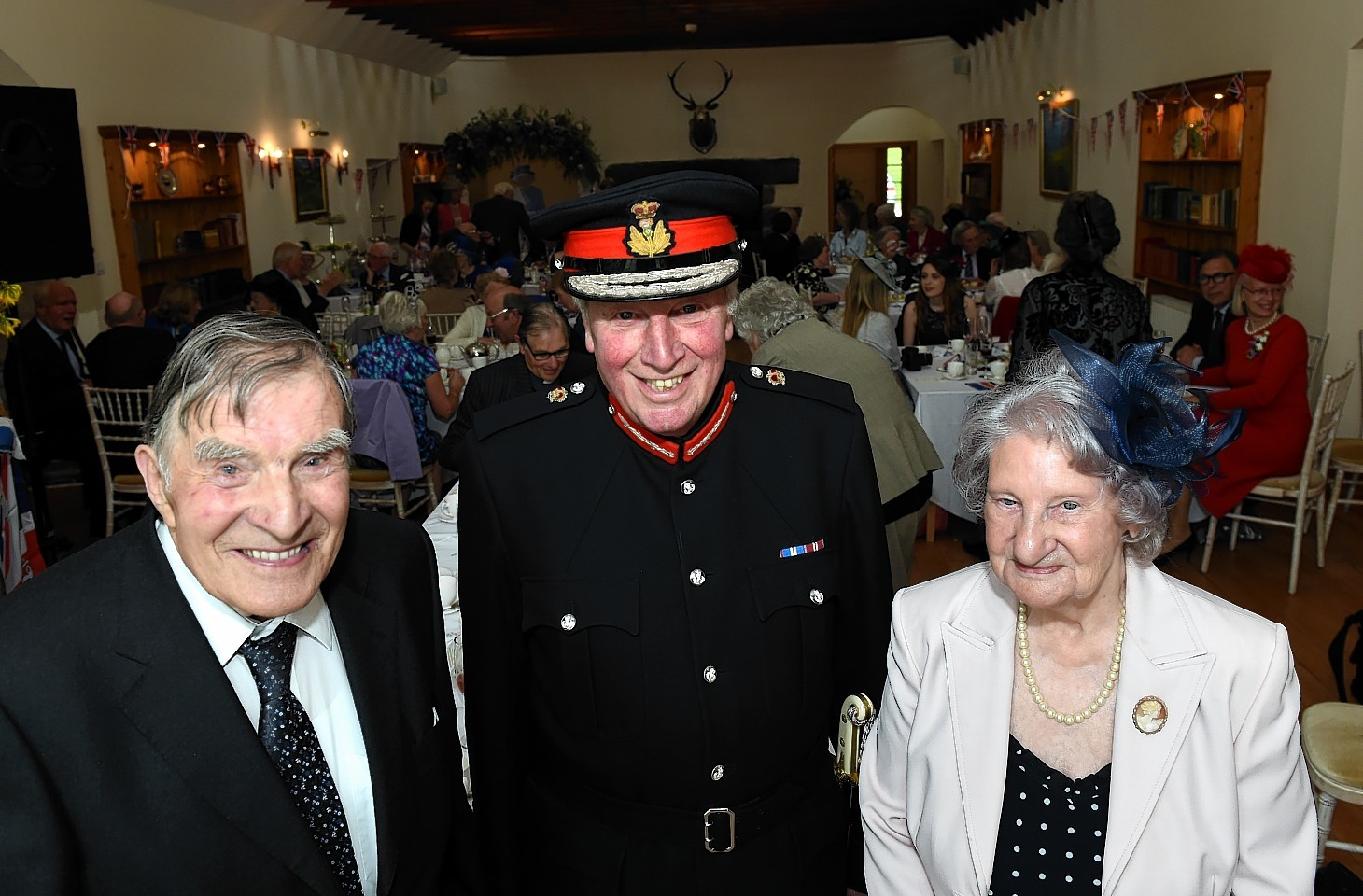 Lord Lieutenant of Aberdeenshire James Ingleby with Fred Paterson of Tarland and Elizabeth Thow, of Stonehaven who were both born in April 1926. Picture by Kami Thomson