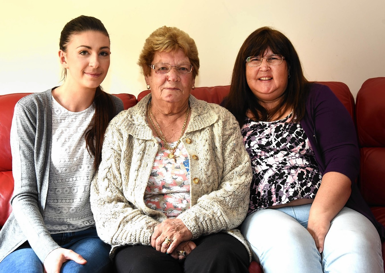 Shona Cameron (21) (left) with Jean Curran (80) and her daughter Linda Curran (52).