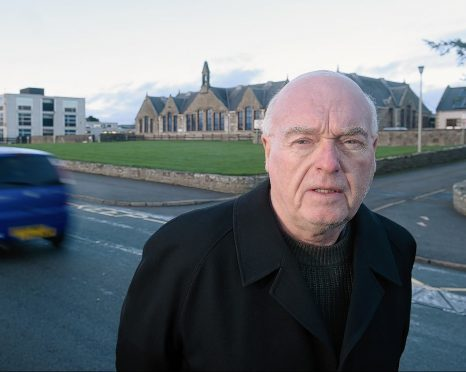 Jim McGillivray outside the secondary and primary schools in Dornoch, near to where the 30mph will be extended