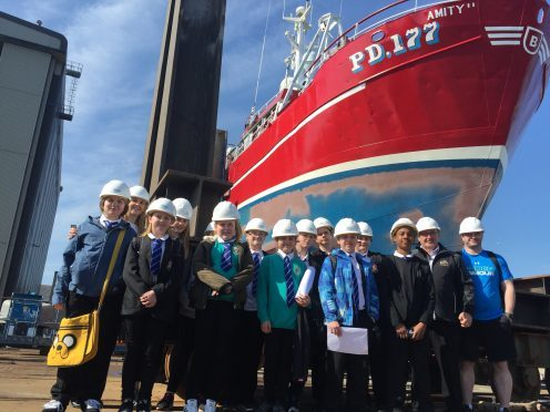 TV trawlerman Jimmy Buchan was joined by Aberdeen school pupils.