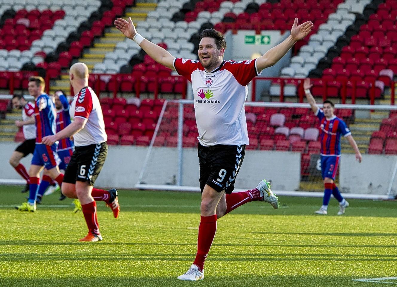 Clyde's John Gemmell celebrates having opened the scoring for his side