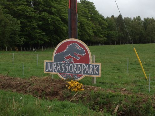 The sign comparing Rafford to Jurrasic Park was removed within hours.