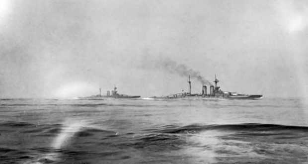 HMS Warspite and Malaya seen from HMS Valiant at 14:00 hrs on 31 May 1916