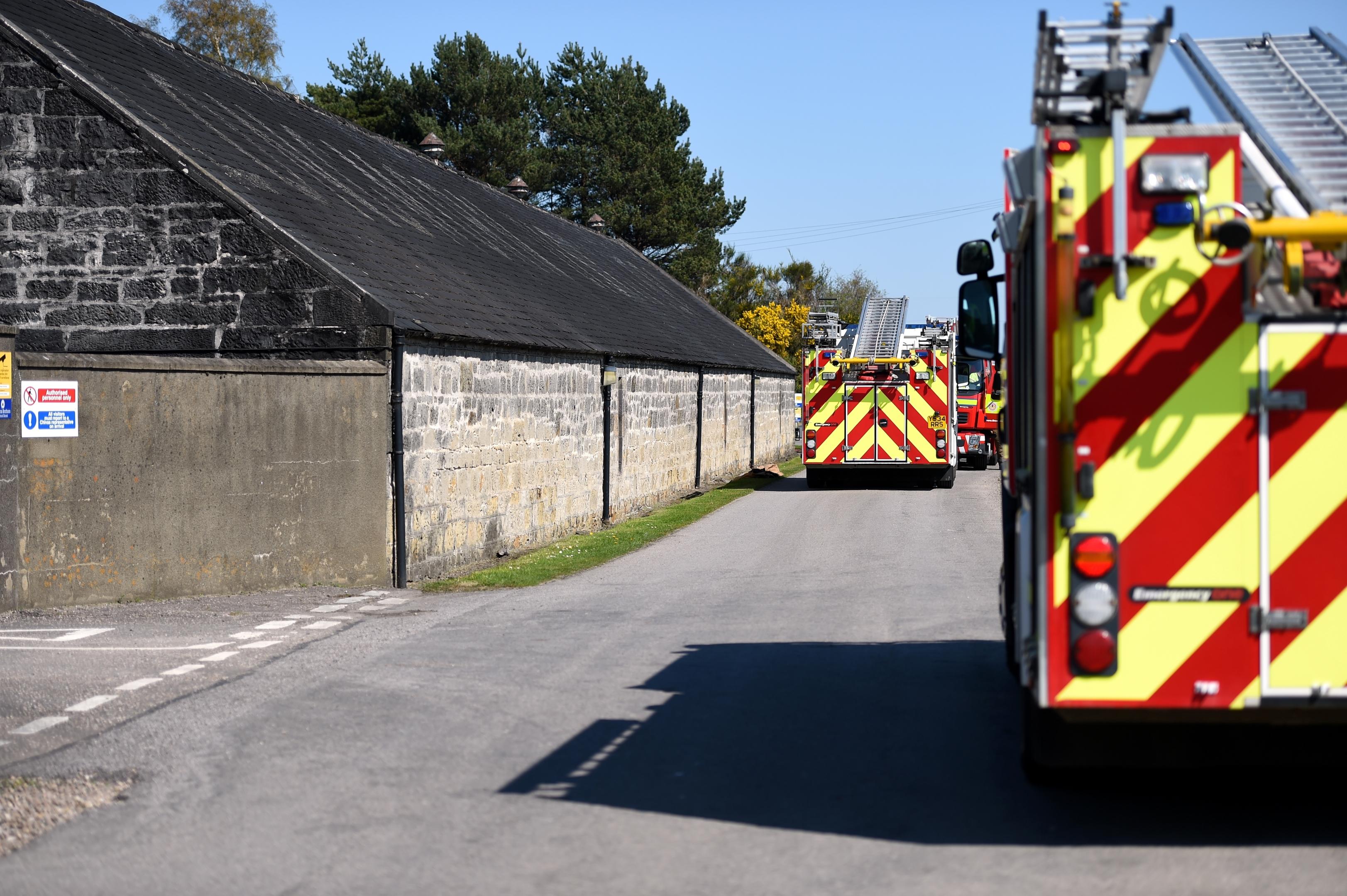 Emergency services at Longmorn Distillery, Fogwatt. Picture by Gordon Lennox