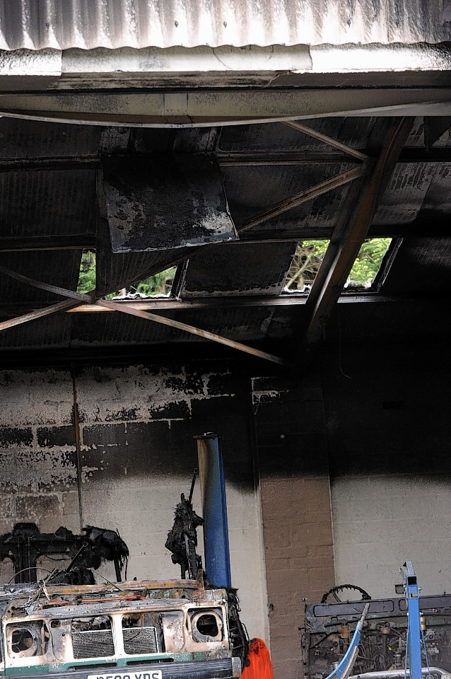 Ogilvy Car Restorations, Woodlands Industrial Estate, Grantown On Spey, which caught fire..