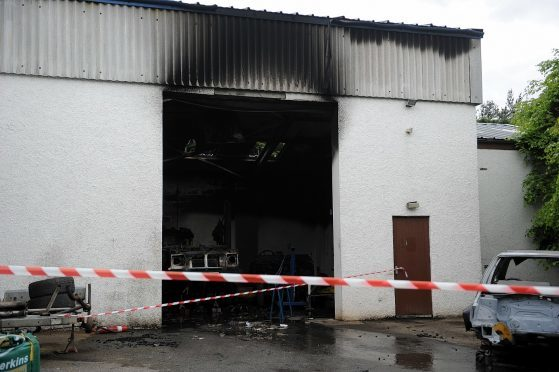Ogilvy Car Restorations, Woodlands Industrial Estate, Grantown On Spey, which caught fire.