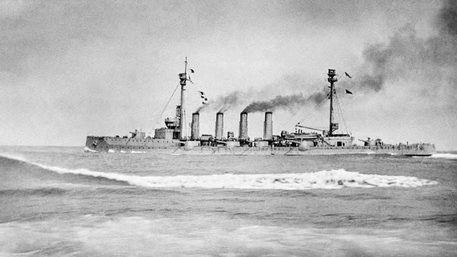 HMS Warrior during the Battle of Jutland