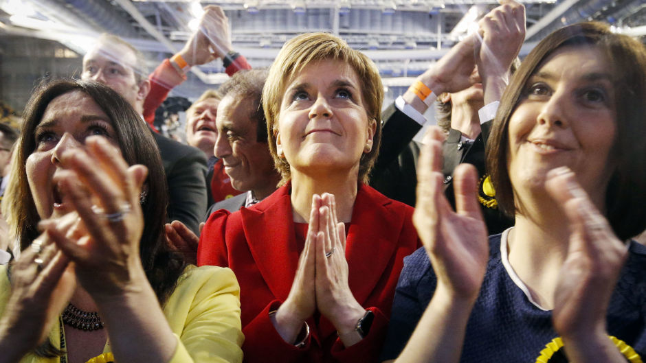 Nicola Sturgeon reacts as results come in at a Scottish Parliament election count at the Emirates Arena in Glasgow