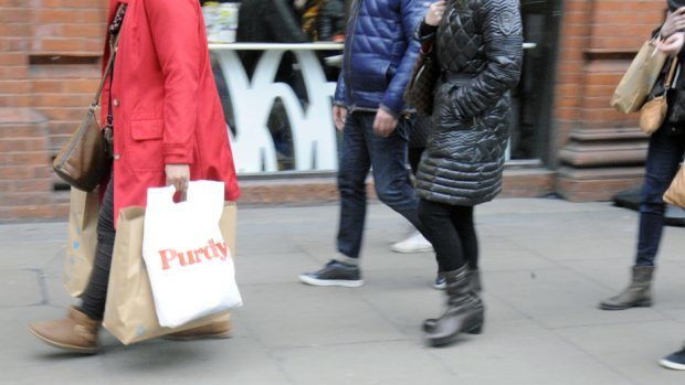 The Scottish Retail Consortium found there was a fall in shopper numbers in April compared with the same month last year