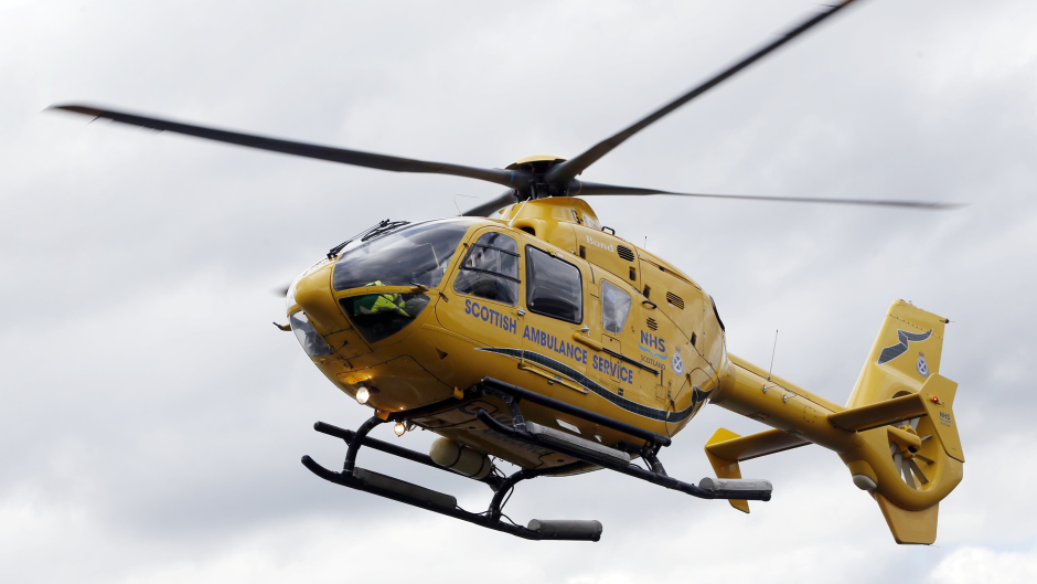A Scottish Ambulance Service helicopter attended the scene