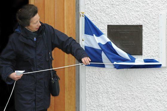 """""""Princess Anne unveils a plaque at Sumburgh Lighthouse"""