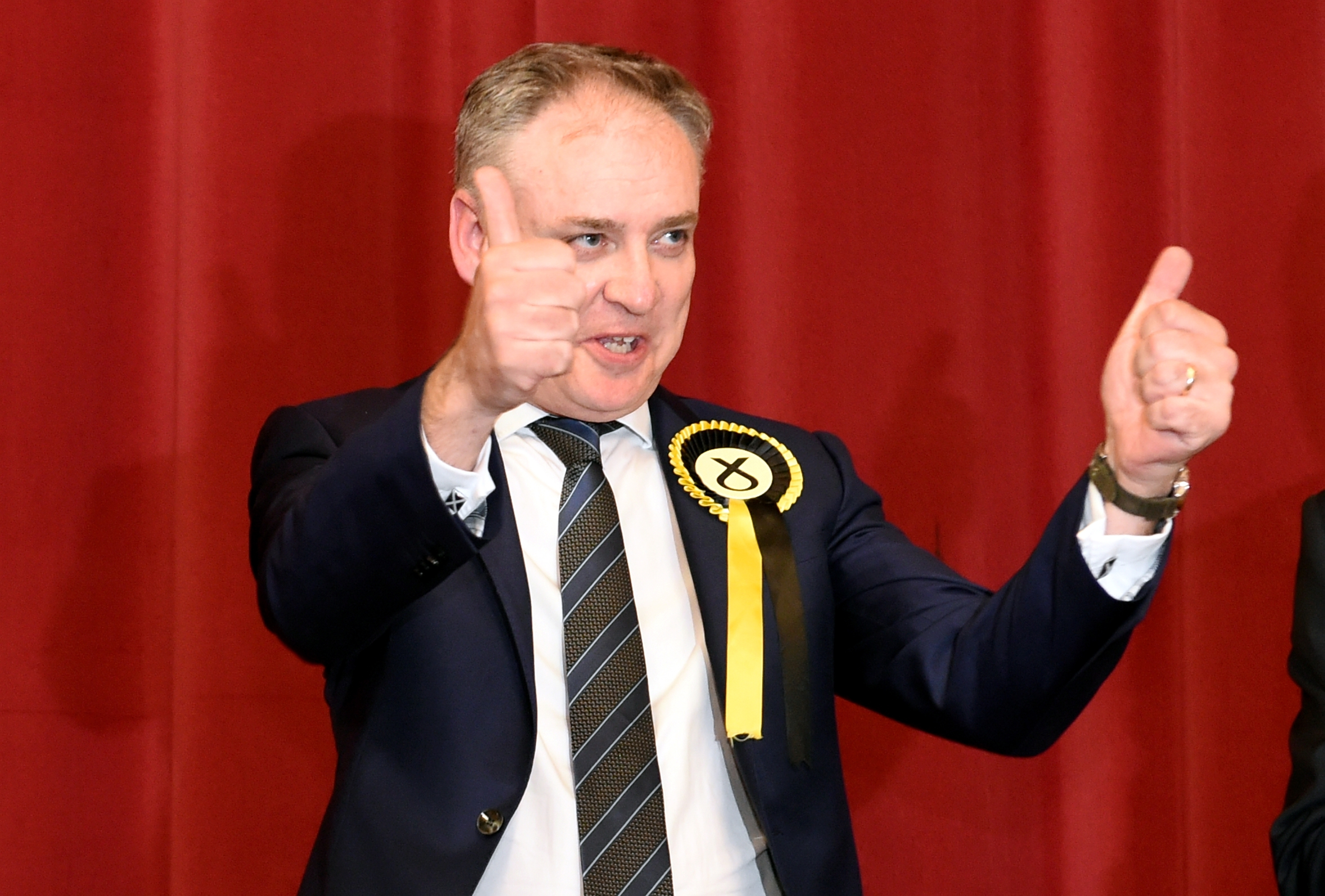 Richard Lochhead, SNP, at Elgin Town Hall, after winning the Moray vote. Picture by Gordon Lennox