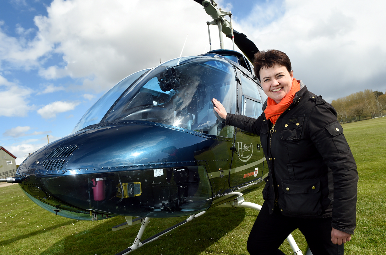 Scottish Conservative leader Ruth Davidson stopping off by helicopter at Keith where she visited Keith Kilt and Textiles Centre.