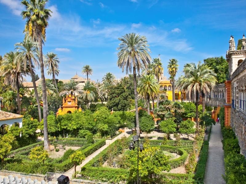 Real Alcazar Gardens in Seville, Spain.