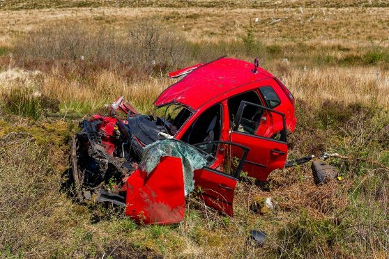 The scene of the crash approximately a mile north of Broadford in Skye.