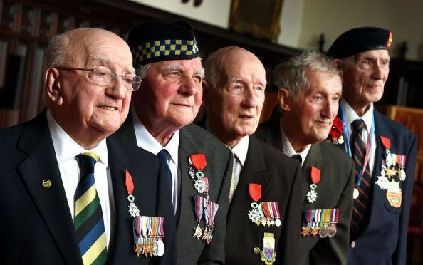 World War II heroes at Aberdeen's Town House yesterday. Picture by Kevin Emslie.