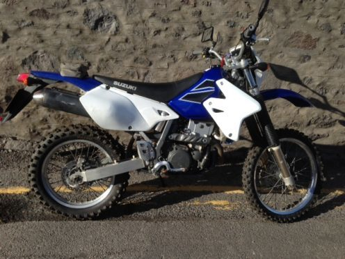 Police are appealing for information after a blue Suzuki scrambler was stolen.