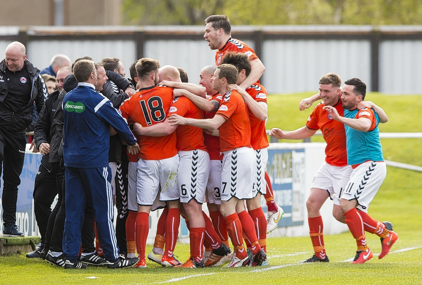 Clyde players mob Jordan Kirkpatrick after he gives his side the lead