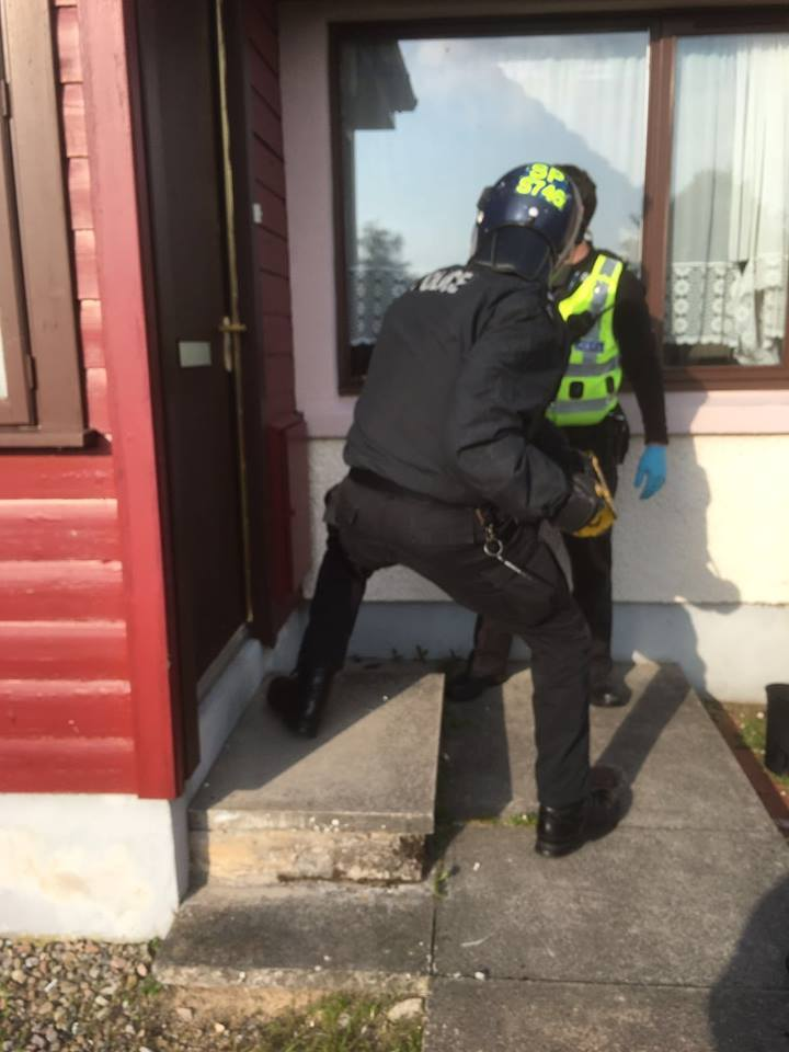 Police during a series of drugs raids in Ross-shire