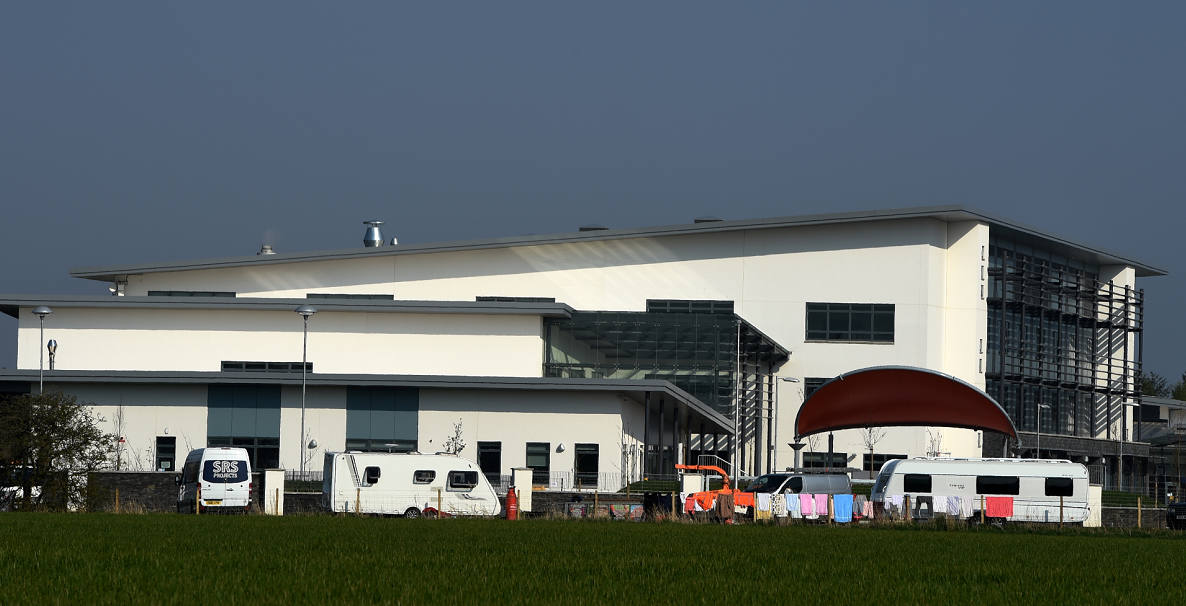 The travellers appeared on Saturday and moved outside Ellon Academy on Sunday