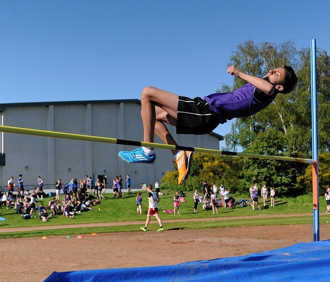 Robbie Macgregor, Gordonstoun, competes in the high jump. Picture by Gordon Lennox