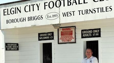 Elgin City chairman Graham Tatters outside Borough Briggs.