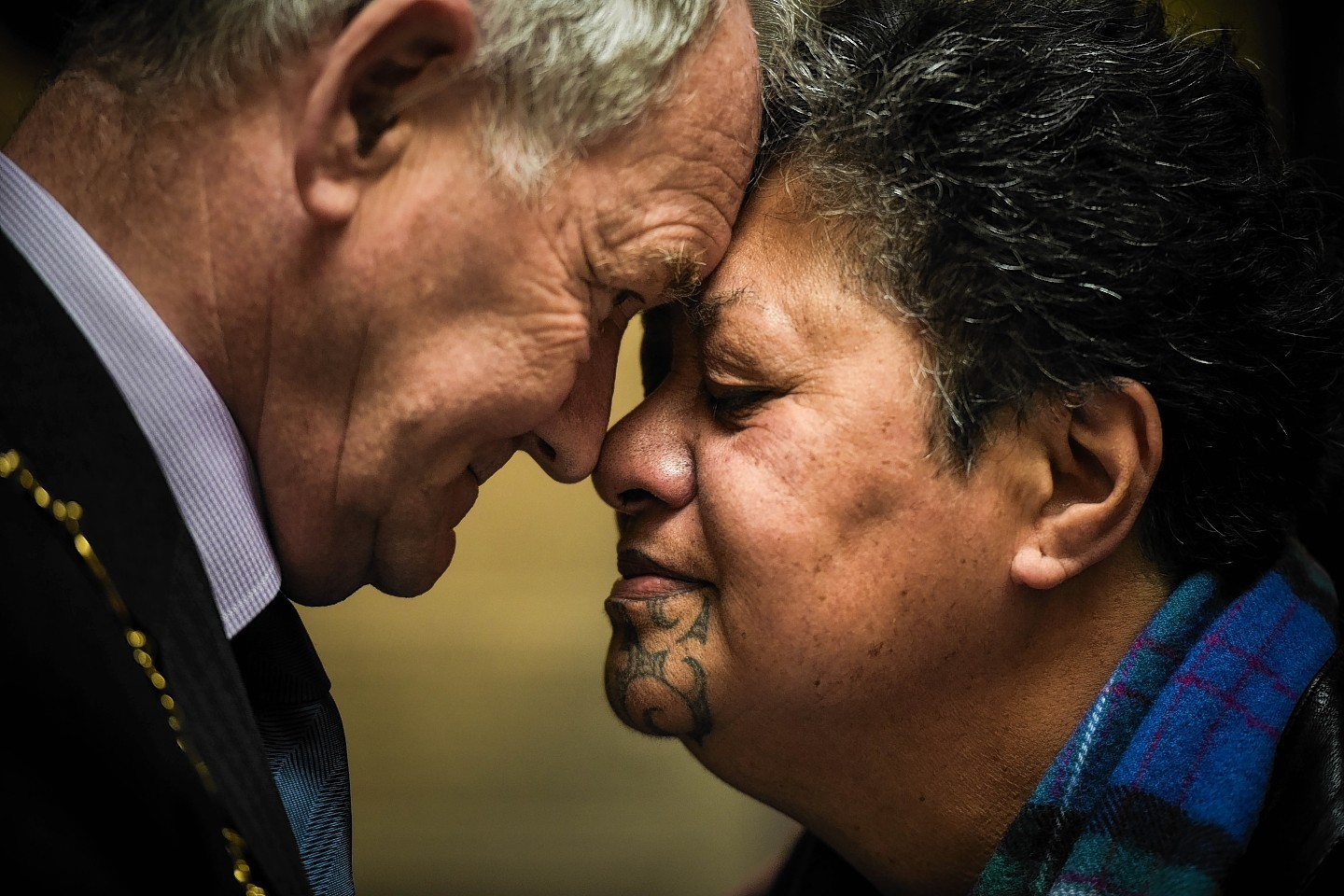 Ms Hema Temara and Alan Wright, Convenor of Moray Council, perform a hongi following a ceremony at the Falconer Museum in Forres
