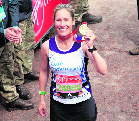 Sophie at the finish line of the 2016 London Marathon