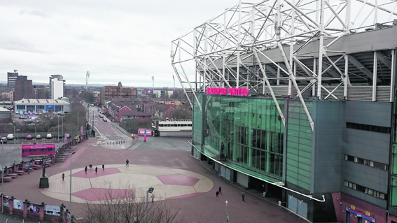 The view of Old Trafford from Hotel Football