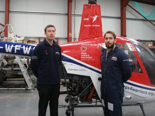Wings for Warriors student Marc Goddard and instructor Chris Kirk