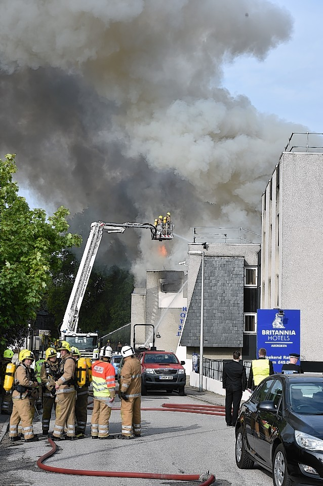 Britannia Hotel devastated by fire. Pictures and video by Colin Rennie
