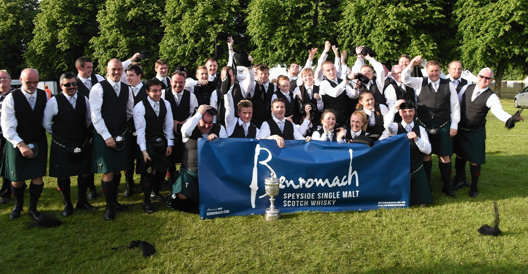 Celebrations from the St Lawrence O'Toole Pipe Band from Dublin after winning the European Championships.