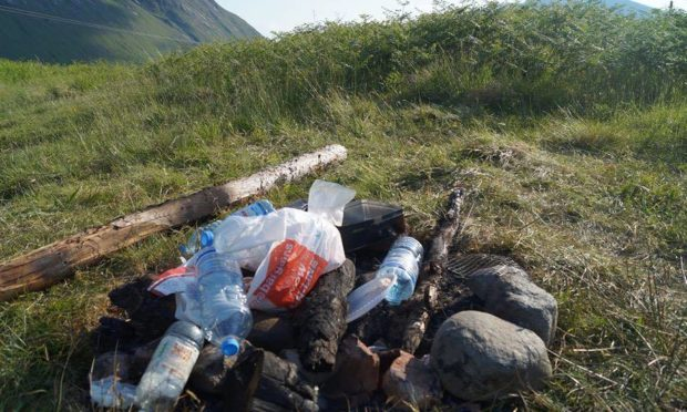 Rubbish left behind by visitors to Glen Etive